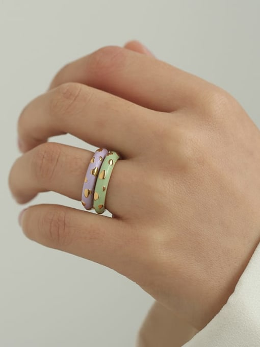 Five Color Brass Enamel Round Minimalist Band Ring 1