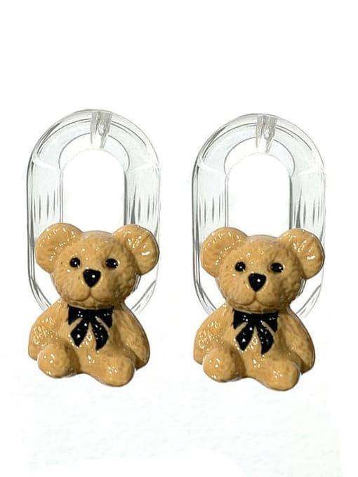 yellow Brass Resin Bear Hip Hop Stud Earring