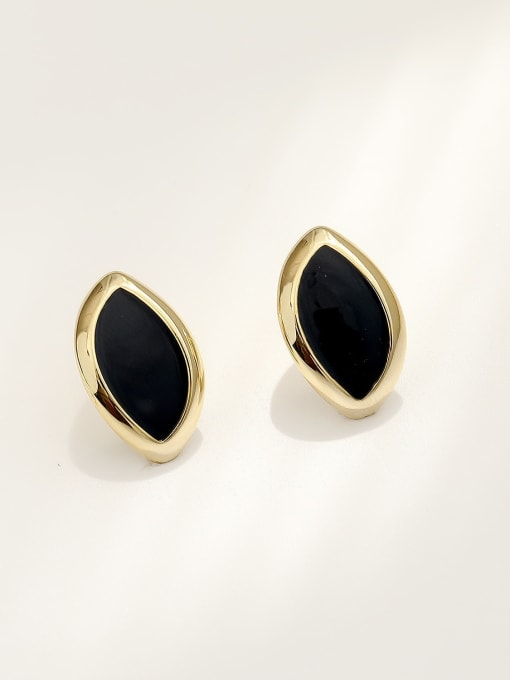 HYACINTH Brass Acrylic Geometric Vintage Stud Earring
