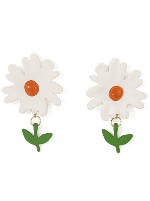Five Color Alloy Enamel Flower Cute Stud Earring 2