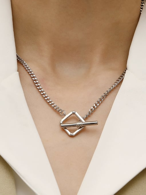 HYACINTH Brass Hollow Geometric Minimalist Necklace 1