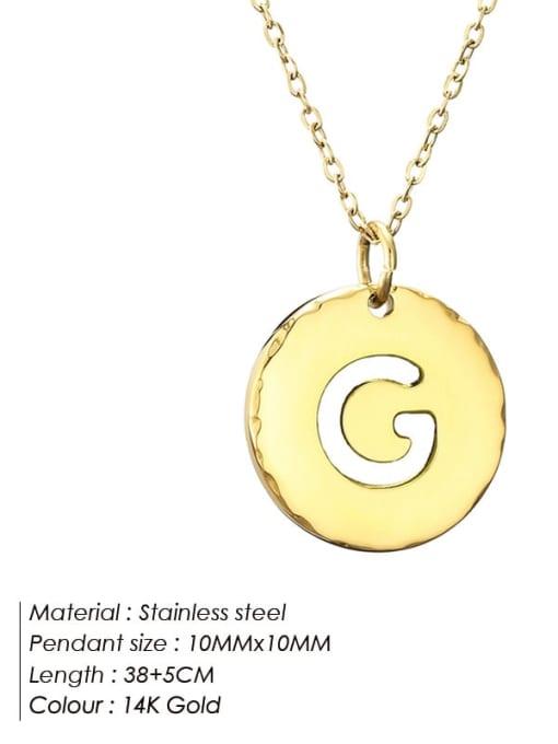 G Titanium Steel Letter Minimalist Round Pendant Necklace