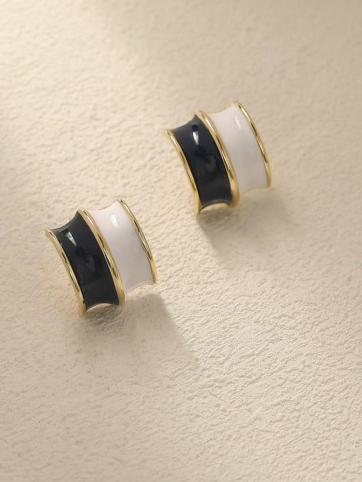 14K gold ink blue + white Brass Enamel Geometric Vintage Stud Trend Korean Fashion Earring