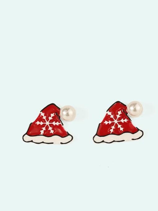 Five Color Alloy Enamel Bowknot Cute Christmas   Stud Earring 1