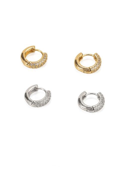 ACCA Brass Cubic Zirconia Geometric Dainty Huggie Earring