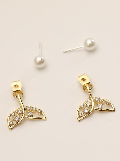 HYACINTH Brass Cubic Zirconia Geometric Cute Stud Earring 3