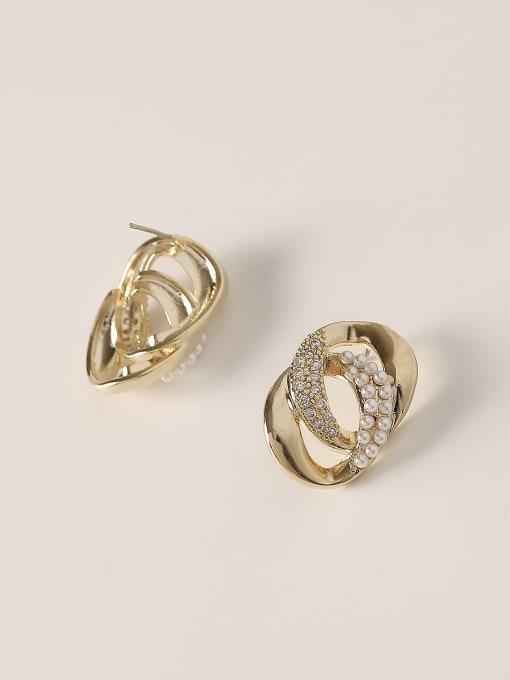 HYACINTH Brass Cubic Zirconia Geometric Vintage Stud Trend Korean Fashion Earring 2