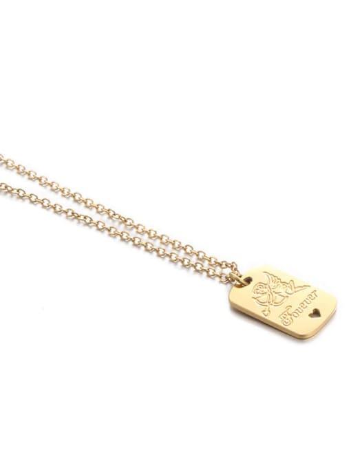 Five Color Titanium Steel Locket Minimalist Geometric  Pendant Necklace 2