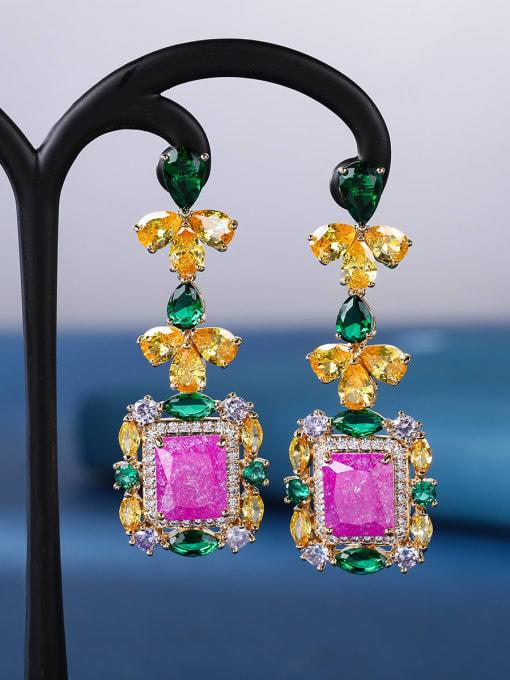 rose red Brass Cubic Zirconia Geometric Luxury Drop Earring