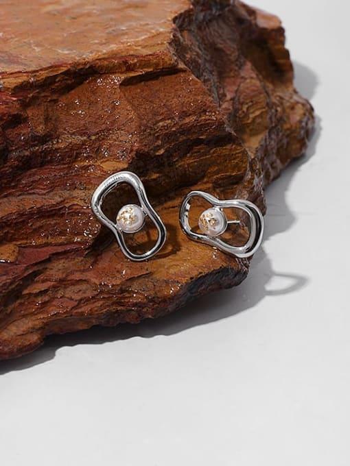 TINGS Brass Imitation Pearl Geometric Vintage Huggie Earring 2