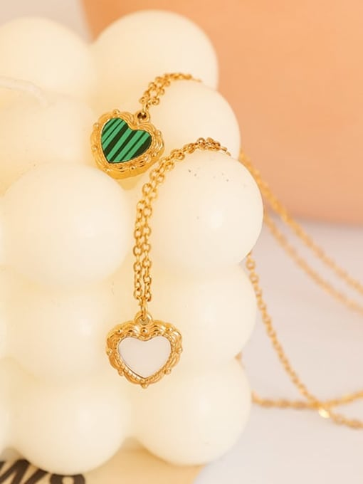 Five Color Brass Shell Heart Minimalist Necklace 3