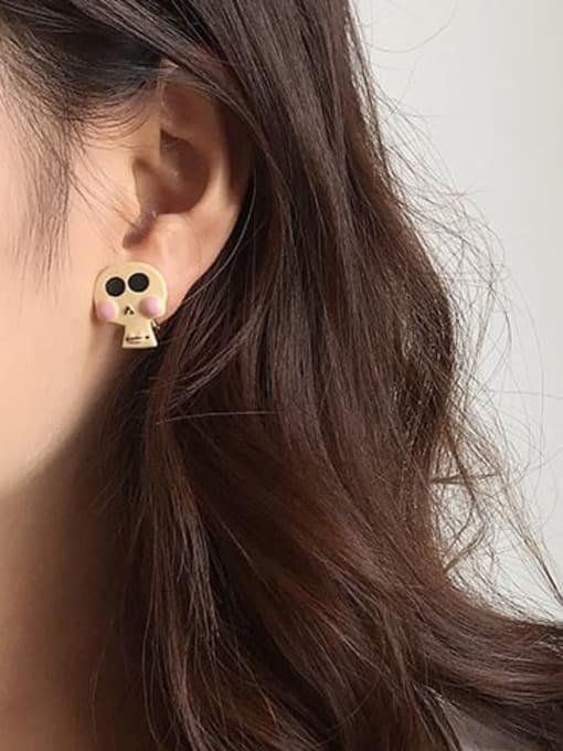 Five Color Alloy Enamel Skull Cute Stud Earring 1
