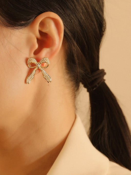 HYACINTH Brass Cubic Zirconia Bowknot Ethnic Stud Earring 1