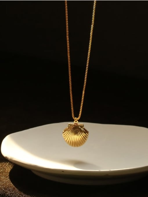 ACCA Brass Irregular Minimalist  shell pendant Necklace 0