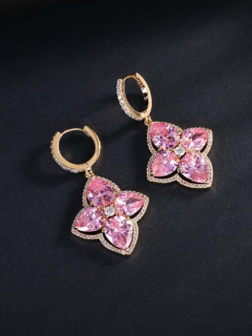 Pink Brass Cubic Zirconia Flower Luxury Huggie Earring