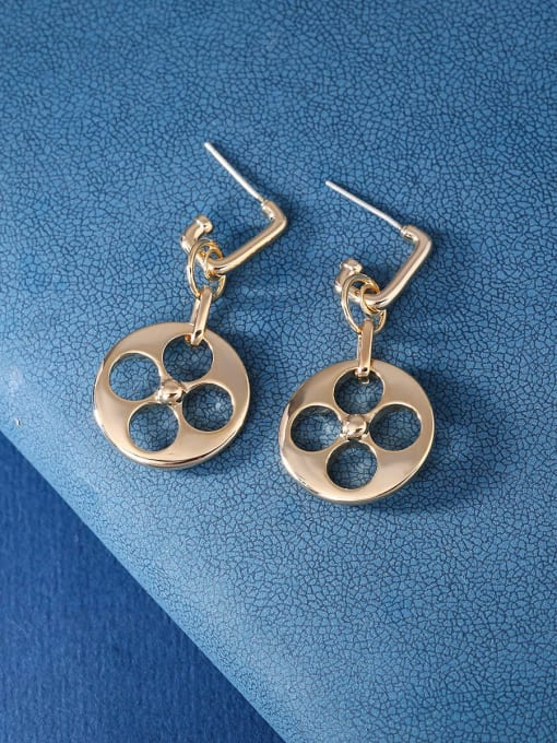 OUOU Brass Hollow Geometric Minimalist Huggie Earring