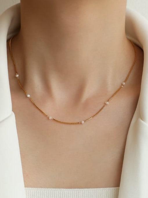 Five Color Brass Imitation Pearl Geometric Hip Hop Lariat Necklace 2