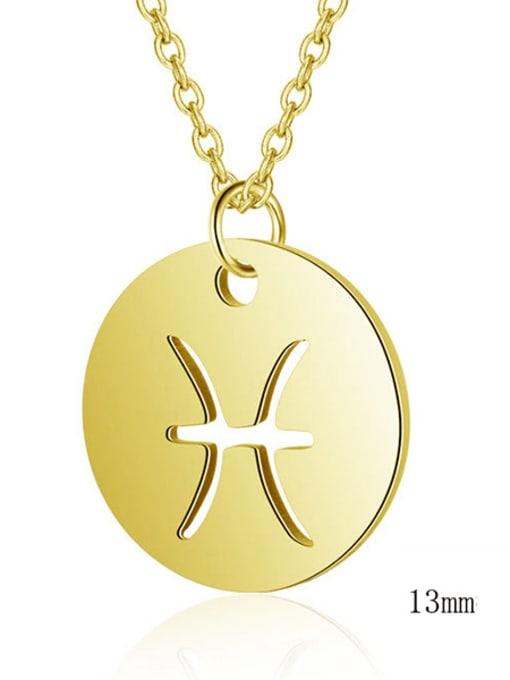 Pisces gold Titanium Steel Constellation Minimalist  Round Pendant Necklace