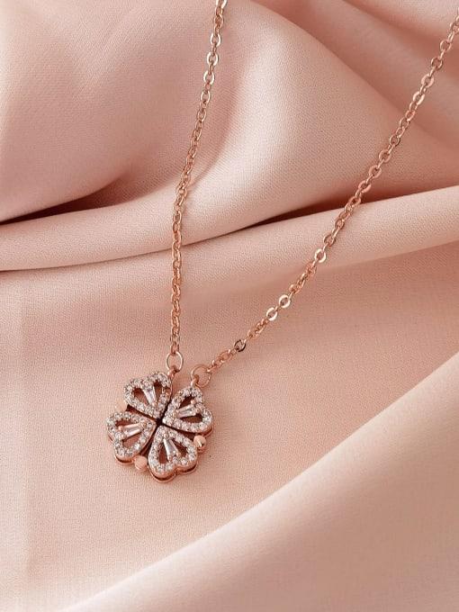 HYACINTH Brass Rhinestone Heart Minimalist Necklace 2