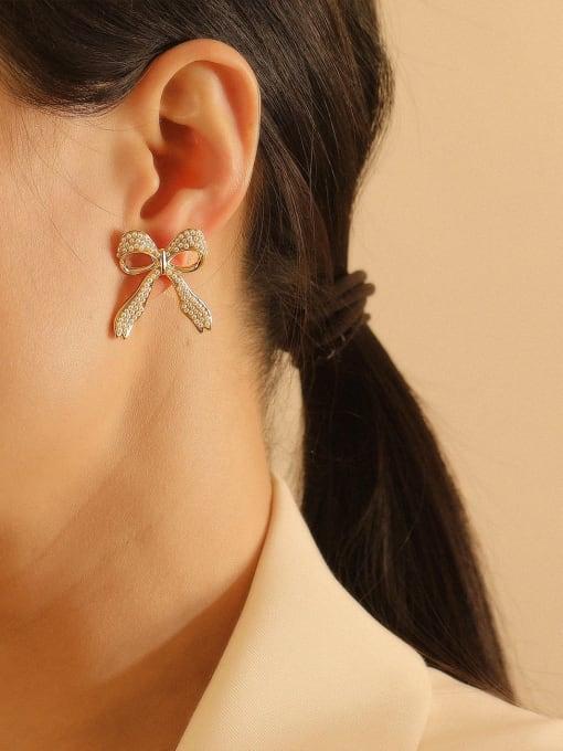 HYACINTH Brass Cubic Zirconia Bowknot Ethnic Stud Earring 2