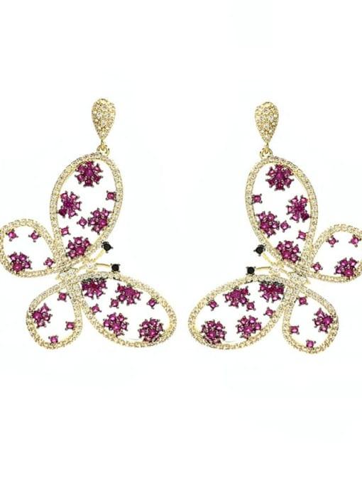 red Brass Cubic Zirconia Butterfly Luxury Drop Earring