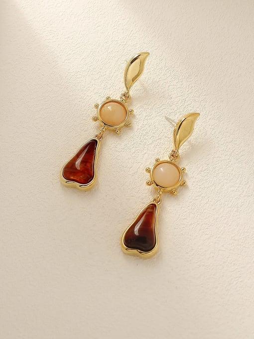 HYACINTH Brass Carnelian Water Drop Vintage Drop Earring 2