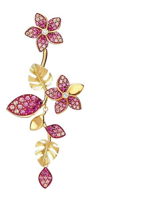 Beautiful flowers Brass Cubic Zirconia Heart Statement Drop Earring