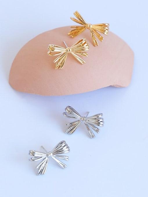 Five Color Brass Rhinestone Bowknot Minimalist Stud Earring 0