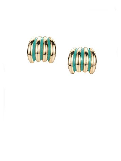 Bright green oil drop earrings Brass Enamel Geometric Minimalist Stud Earring