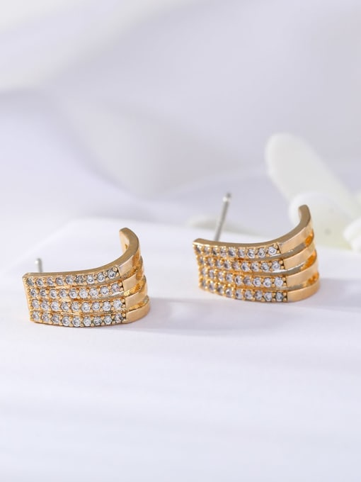 golden Brass Cubic Zirconia Geometric Ethnic Stud Earring