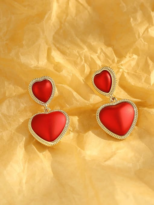 14k Gold matte red Brass Enamel Heart Ethnic Drop Earring