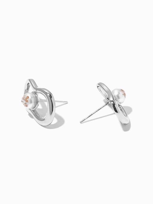 Hollow Earrings Brass Imitation Pearl Geometric Vintage Huggie Earring