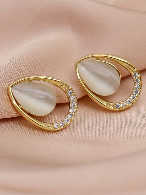 14k Gold Brass Cats Eye Water Drop Minimalist Stud Earring