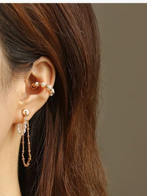 ACCA Brass Imitation Pearl Tassel Vintage Single Earring(ONLY ONE PCS) 1