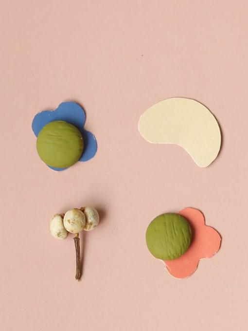 Five Color Alloy Enamel Round Cute Stud Earring 3