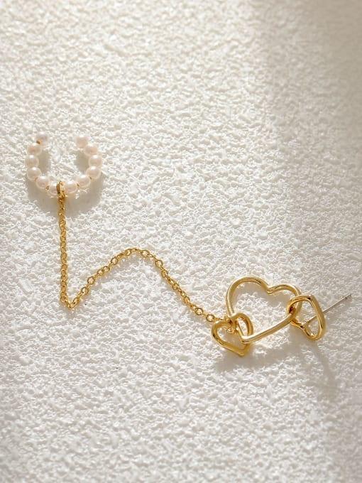 HYACINTH Brass Imitation Pearl Heart Minimalist Single Earring 3