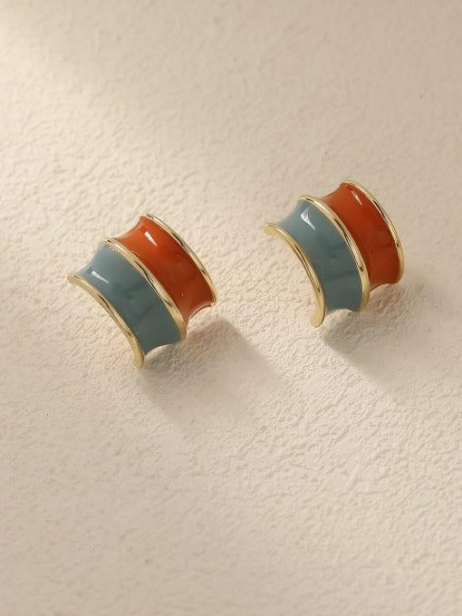 14k Gold light blue +orange Brass Enamel Geometric Vintage Stud Trend Korean Fashion Earring