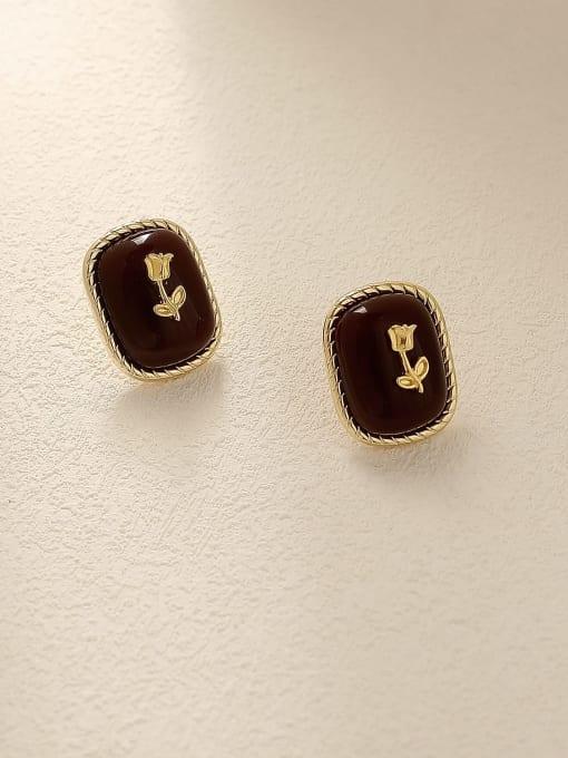 14k Gold Brass Enamel Geometric Vintage Stud Trend Korean Fashion Earring