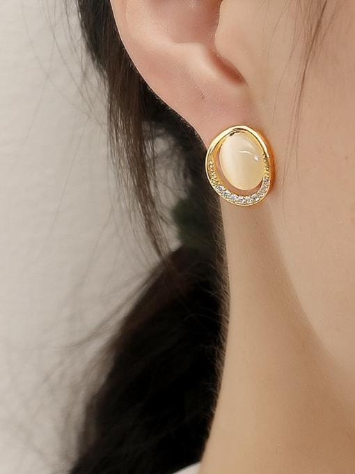 HYACINTH Brass Cats Eye Geometric Minimalist Stud Trend Korean Fashion Earring 1