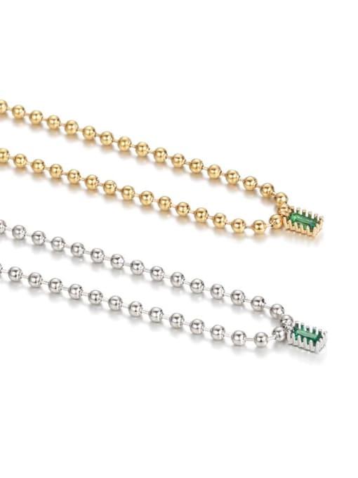 Five Color Brass Bead  Chain Geometric Vintage Necklace