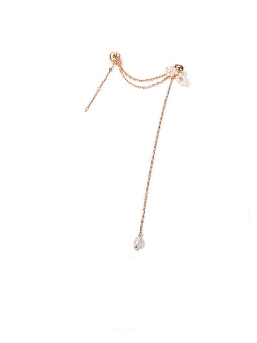 Bowknot Pearl Earbone clip for sale Brass Freshwater Pearl Tassel Minimalist Threader Earring(single)