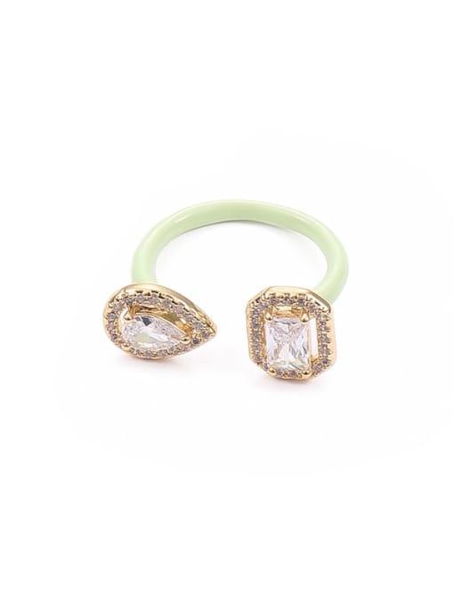 Macarone green Zinc Alloy Enamel Glass Stone Geometric Minimalist Band Ring