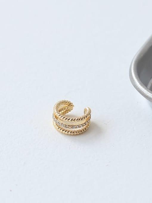 ACCA Brass Cubic Zirconia Geometric Minimalist Single  Clip Earring(Single) 2