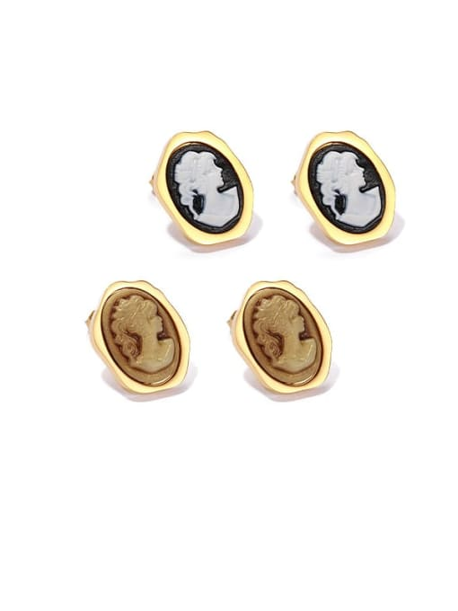 ACCA Brass Resin Oval Vintage Stud Earring 0