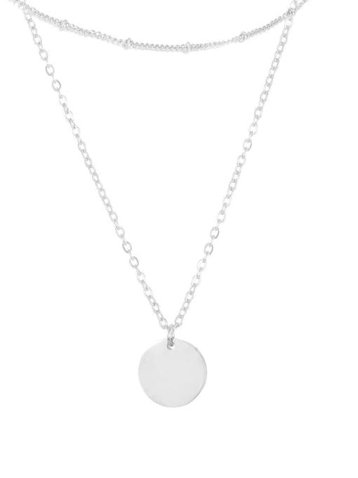 Steel color Stainless steel Locket Minimalist Multi Strand Necklace
