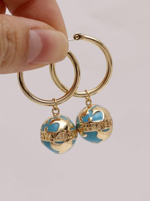 HYACINTH Brass Enamel Geometric Vintage Huggie Earring