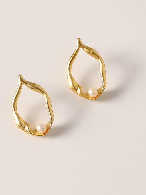 gold Brass Imitation Pearl Geometric Minimalist Stud Earring
