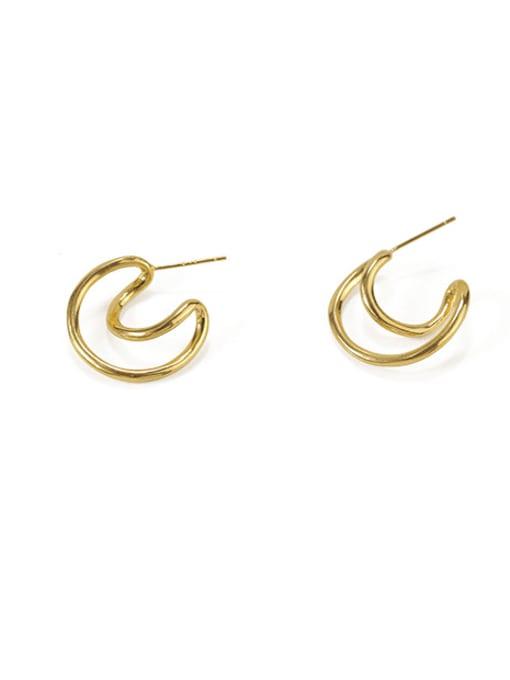 Item 1 Brass  Smooth Irregular Vintage Stud Earring