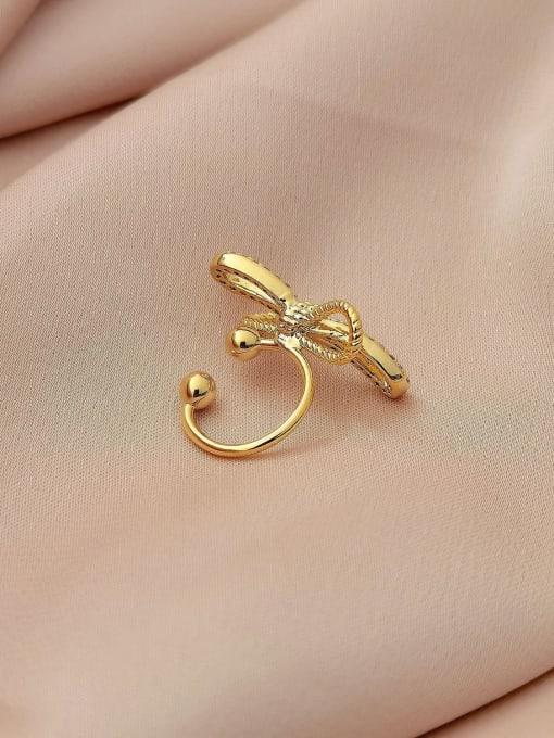 HYACINTH Brass Cubic Zirconia Bowknot Minimalist Clip Earring 3