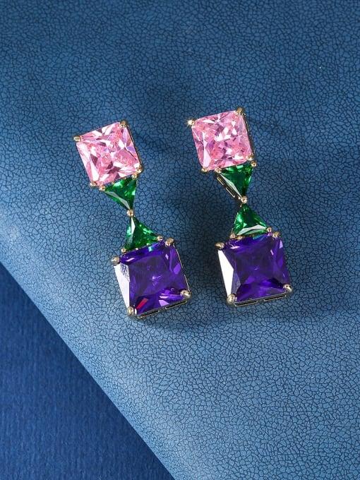 colour Brass Cubic Zirconia Geometric Luxury Drop Earring